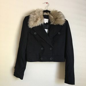 Loft Size Small Faux Fur Collar Black Crop Jacket